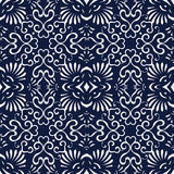 无缝的蓝色日本背景螺旋曲线爱好者十字架 图库摄影