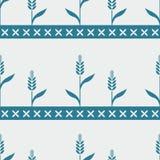 无缝的蓝色样式用麦子 免版税图库摄影