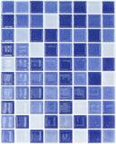 无缝的蓝色正方形铺磁砖样式 库存图片