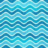 无缝的蓝色波浪条纹图形 免版税库存图片