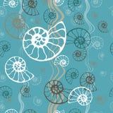无缝的蓝色海样式化石炸药舡鱼贝壳传染媒介 温泉沙龙的,海鲜咖啡馆手拉的例证, 皇族释放例证