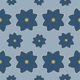 无缝的蓝色花形状样式背景 向量例证