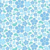 无缝的蓝色花纹花样 库存图片