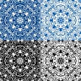 无缝的蓝色颜色和黑白花卉样式 图库摄影