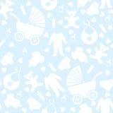 无缝的蓝色婴儿背景 免版税库存照片