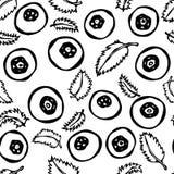 无缝的蓝莓和的叶子 乱画样式传染媒介设计,隔绝在白色背景 免版税图库摄影
