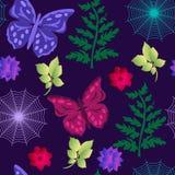 无缝的蝴蝶图案,蜘蛛网,在紫色的分支 向量例证