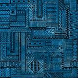无缝的补缀品样式 在蓝色waterc的黑几何线 免版税库存图片