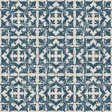 无缝的被用完的古色古香的背景119_flower藤正方形十字架 免版税库存图片