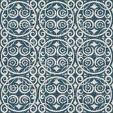 无缝的被用完的古色古香的背景040_round螺旋花藤 库存图片