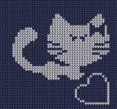 无缝的被编织的背景-猫 向量例证