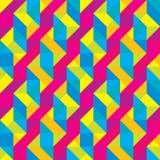 无缝的被覆盖的Cmyk多角形形状样式 免版税库存图片