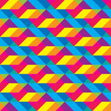 无缝的被覆盖的Cmyk多角形形状样式 免版税图库摄影