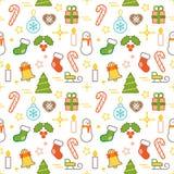 无缝的被说明的圣诞节主题的线型传染媒介样式 免版税图库摄影