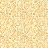 无缝的装饰品花卉米黄中立背景 免版税图库摄影