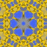 无缝的装饰品黄色蓝色发光 免版税库存照片