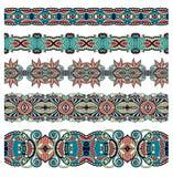 无缝的装饰花卉条纹的汇集 免版税库存图片