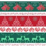无缝的装饰边界圣诞节铃声,圣诞树,他 免版税库存照片