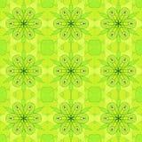无缝的规则花卉样式柠檬绿 库存例证