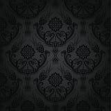 无缝的豪华黑色花卉锦缎墙纸 库存照片