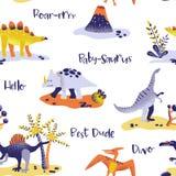 无缝的逗人喜爱的动画片恐龙样式 小迪诺背景纹理 纺织品的,织品,墙纸印刷品背景 皇族释放例证