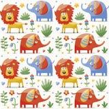 无缝的逗人喜爱的样式大象,狮子,植物,密林 免版税库存图片