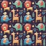 无缝的逗人喜爱的样式大象,狮子,长颈鹿,鸟,植物,密林,花,心脏,叶子 免版税库存照片