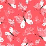 无缝的逗人喜爱的蝴蝶图案 库存照片