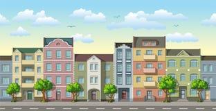无缝的都市风景动画片背景 免版税库存照片