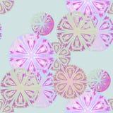 无缝的重叠的圈子样式桃红色紫罗兰色绿色 库存图片