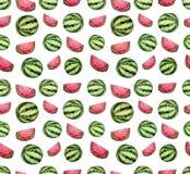 无缝的重复样式用水彩新鲜的西瓜 库存图片