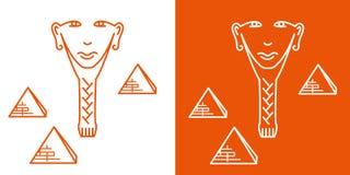 无缝的重复的样式,一个埃及人的面孔的标志 库存例证