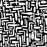 无缝的重复的纺织品墨水刷子抚摸在乱画g的样式 免版税库存图片