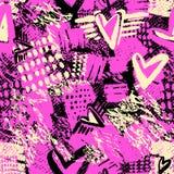 无缝的重复的纺织品墨水刷子抚摸在乱画g的样式 图库摄影