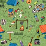 无缝的野营的背景传染媒介样式 库存图片