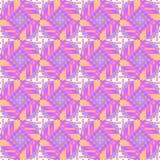 无缝的金刚石样式用圈子紫色白色紫罗兰桔子 免版税图库摄影