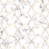 无缝的金线几何现代样式 与菱形、三角和结的背景 金黄纹理 现代最低纲领派白色 皇族释放例证