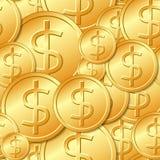 无缝的金美元硬币模式 库存照片
