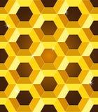 无缝的金黄黄色蜂窝模式 免版税库存照片