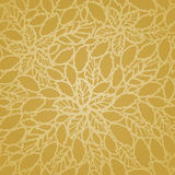 无缝的金黄叶子和花系带墙纸样式 向量例证