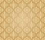 无缝的金黄花卉墙纸样式 库存照片