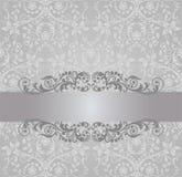 无缝的银色墙纸和葡萄酒横幅 免版税库存照片