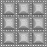 无缝的银色金属在正方形按,围拢由灰色圈子 设计的向量模式 免版税图库摄影