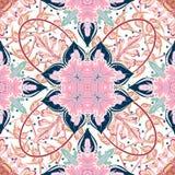 无缝的铺磁砖的样式皇家豪华古典锦缎传染媒介设计 库存照片