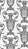 无缝的锦缎传染媒介葡萄酒样式用花装饰的花瓶 皇族释放例证