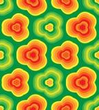 无缝的镶边花卉样式 在绿色背景的橙色花 几何抽象的背景 适用于纺织品,织品 免版税库存照片