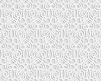 无缝的阿拉伯几何样式, 3D白色样式,印地安装饰品,波斯主题,传染媒介 库存例证