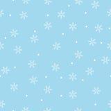 无缝的雪花模式蓝色背景 免版税图库摄影