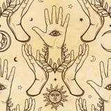 无缝的颜色样式:人的手支持有一只全看见的眼睛的一棵棕榈 神秘,玄妙,秘密主义 向量例证