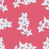 无缝的颜色纺织品样式 开花的,与花墨水剪影的分支植物 皇族释放例证